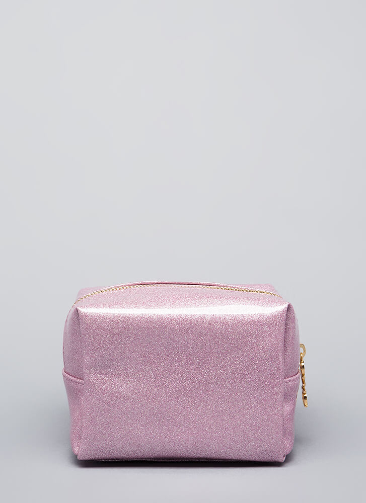 Love Your Face Glittery Makeup Pouch PINK (Final Sale)