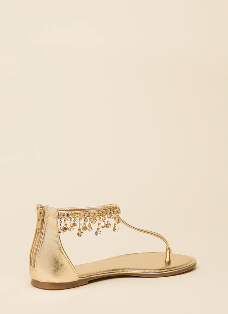 Dripping In Diamonds T-Strap Sandals GOLD