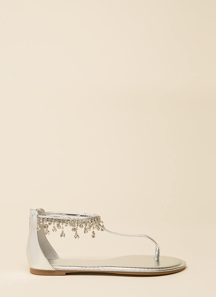 Dripping In Diamonds T-Strap Sandals SILVER