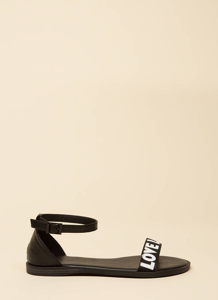 Love Love Love Ankle Strap Sandals BLACK