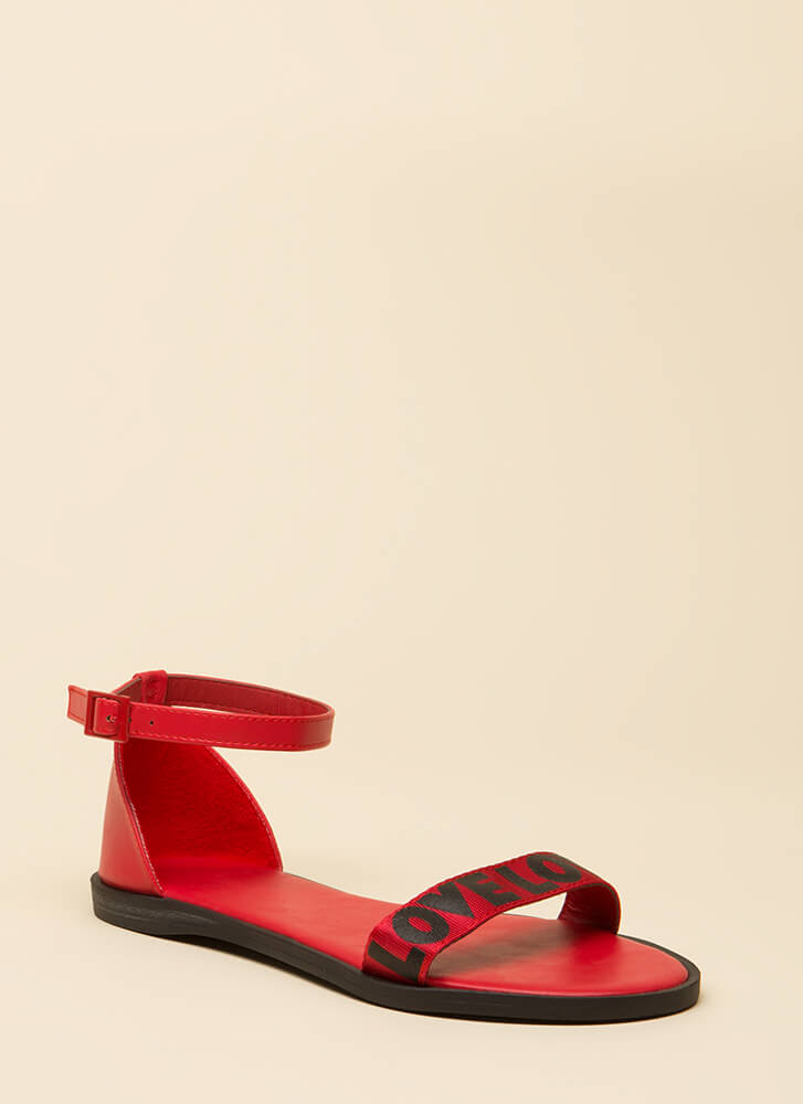 Love Love Love Ankle Strap Sandals RED