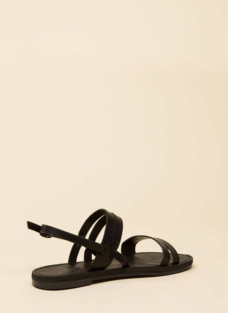 Strappy Feet Faux Leather Sandals BLACK