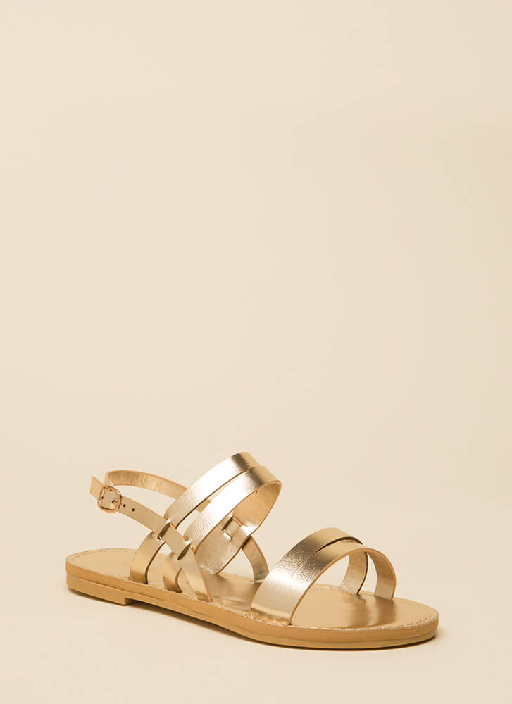 Strappy Feet Shiny Faux Leather Sandals GOLD