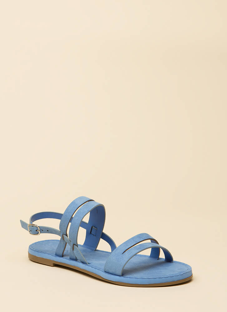 Strappy Feet Faux Suede Sandals BLUE