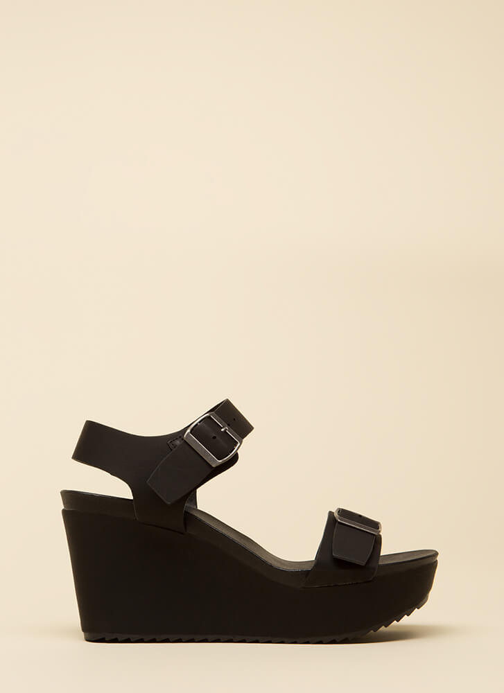 One Two Buckle My Platform Wedges BLACK