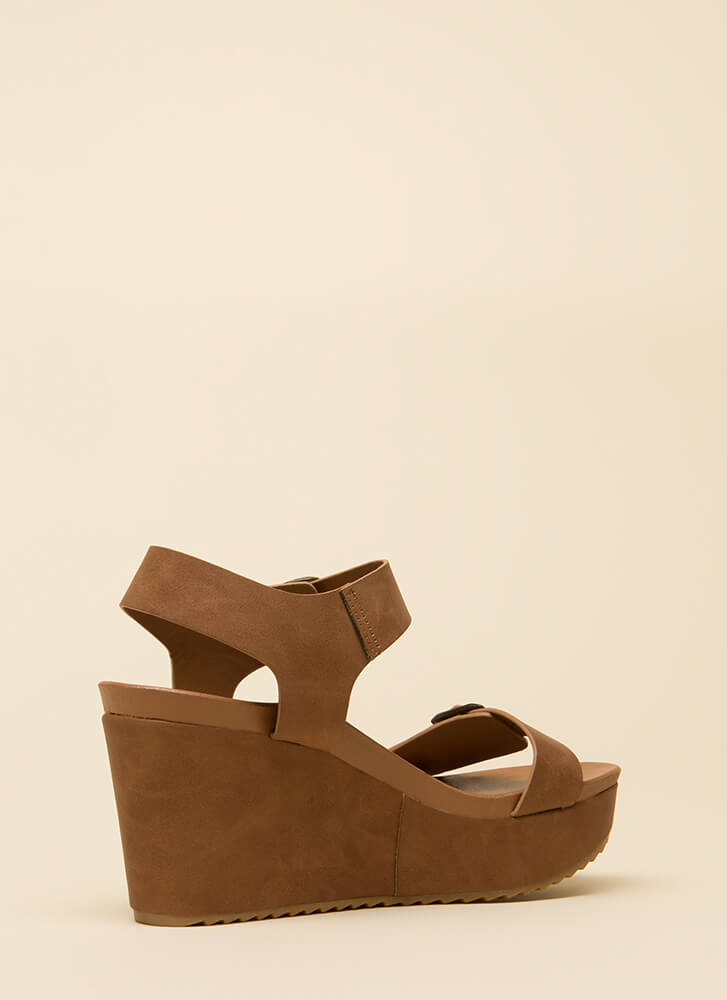 One Two Buckle My Platform Wedges TAN