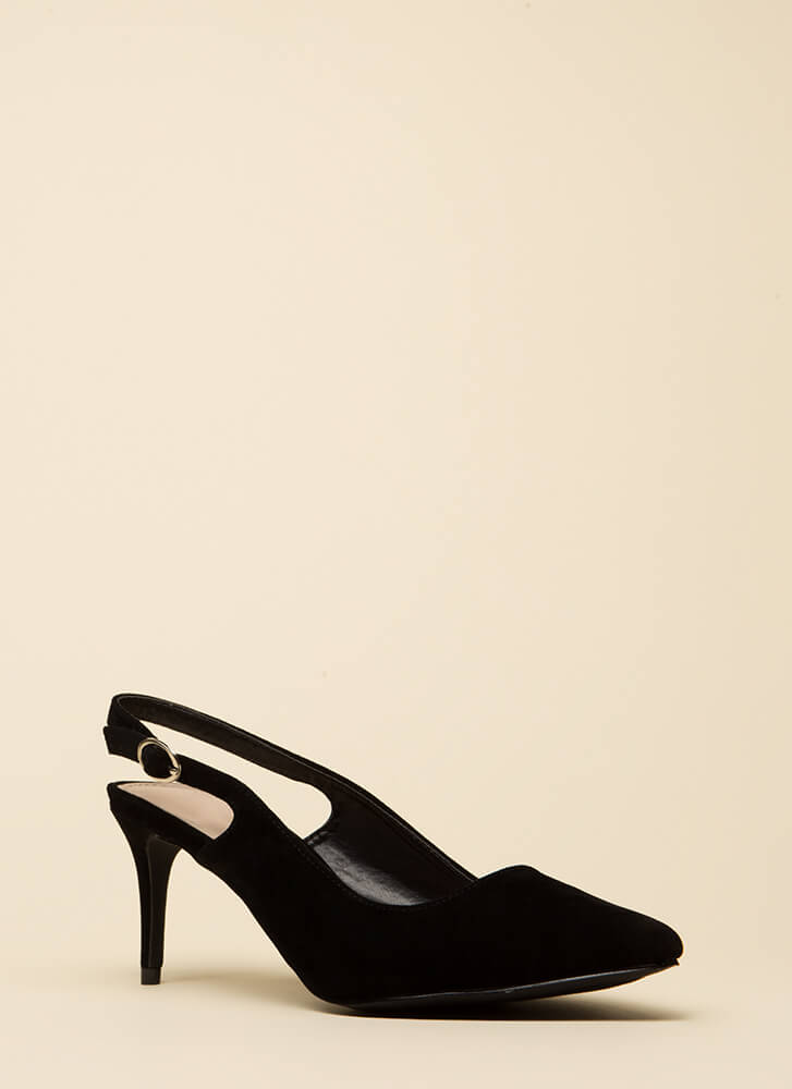 Short Answer Pointy Slingback Heels BLACK
