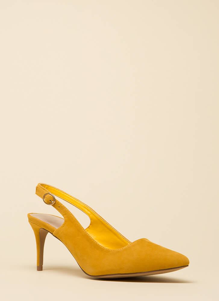 Short Answer Pointy Slingback Heels YELLOW