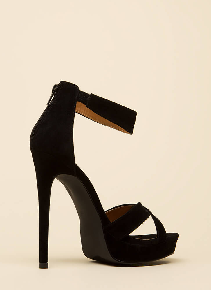 Up There Velvet Ankle Strap Platforms BLACK (You Saved $23)
