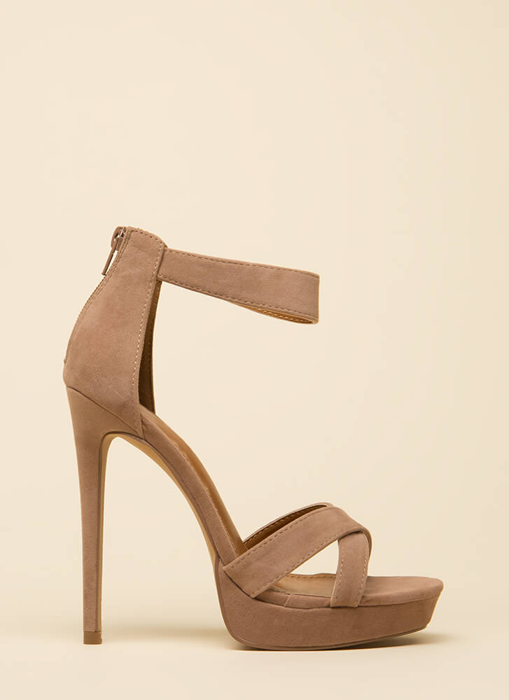 Up There Velvet Ankle Strap Platforms TAUPE