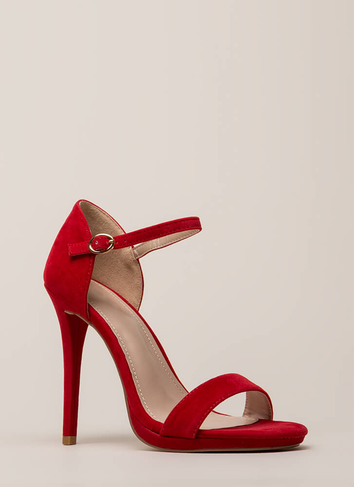 Dangerous Lady Velvet Ankle Strap Heels RED