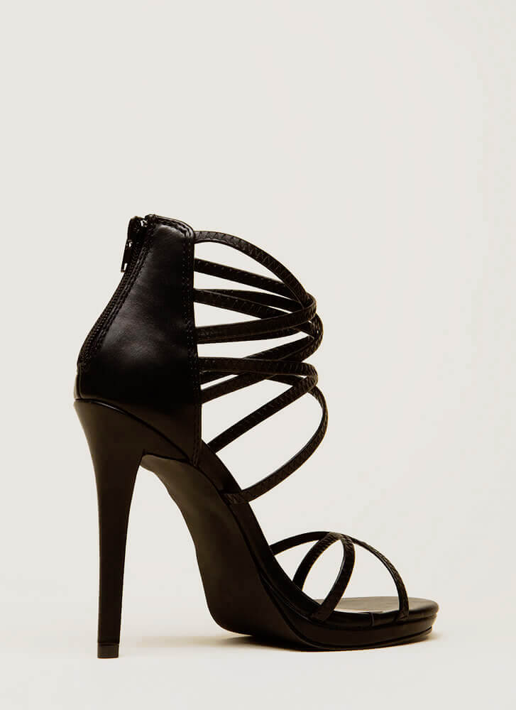 Strap Tease Strappy Stiletto Heels BLACK