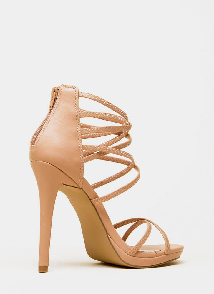 Strap Tease Strappy Stiletto Heels TAUPE