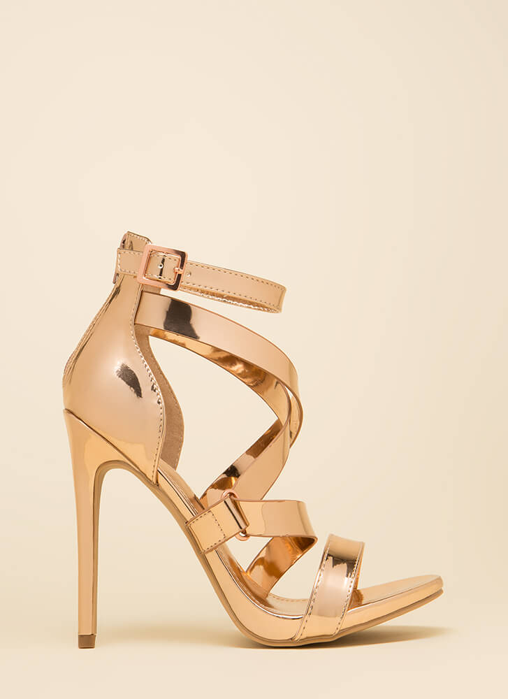 Do What Makes You Strappy Metallic Heels ROSEGOLD (You Saved $24)