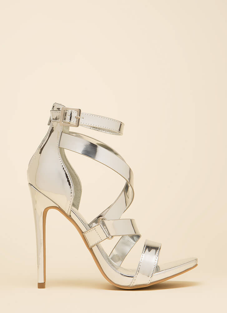 Do What Makes You Strappy Metallic Heels SILVER