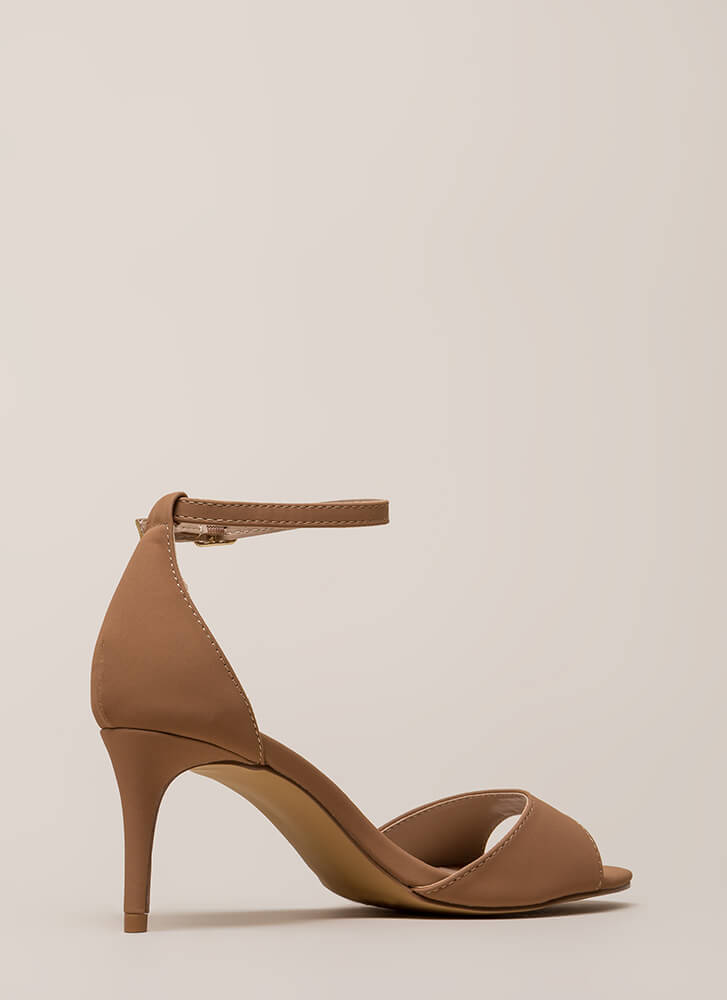 Short Stories Ankle Strap Heels TAUPE