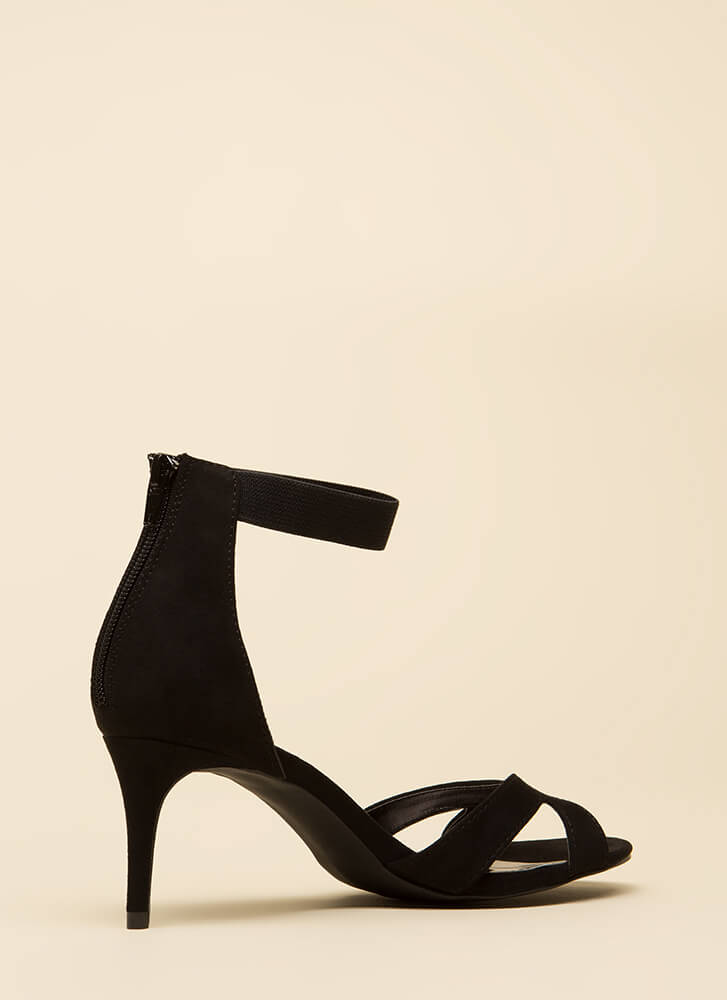 One-Woman Band Short Strappy Heels BLACK