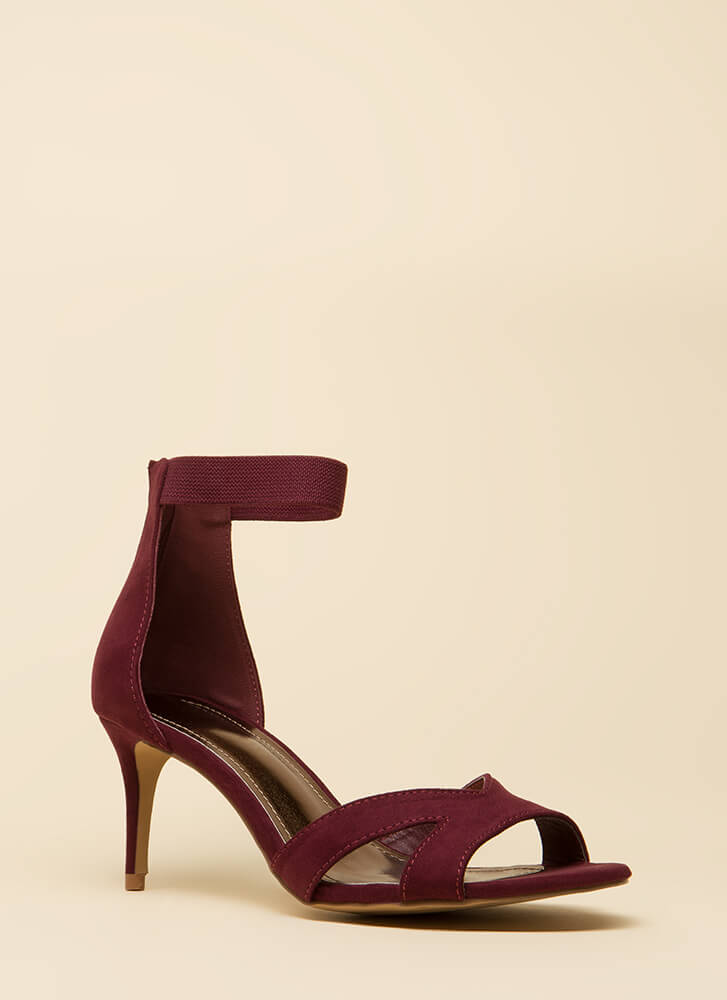 One-Woman Band Short Strappy Heels WINE