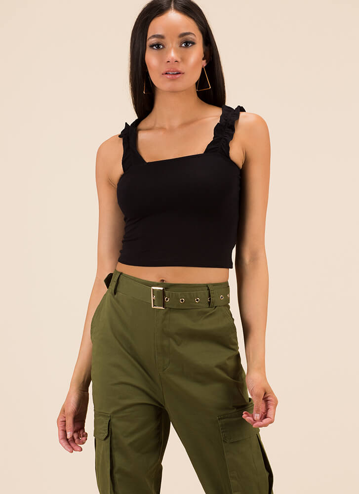 Frill It Out Ruffled Sleeveless Crop Top BLACK