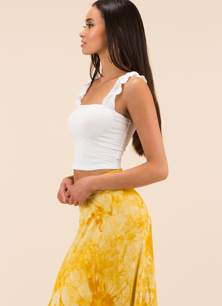 Frill It Out Ruffled Sleeveless Crop Top WHITE