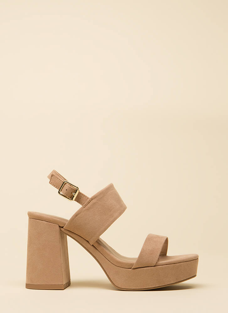 Truth Or Flare Platform Block Heels WARMTAUPE