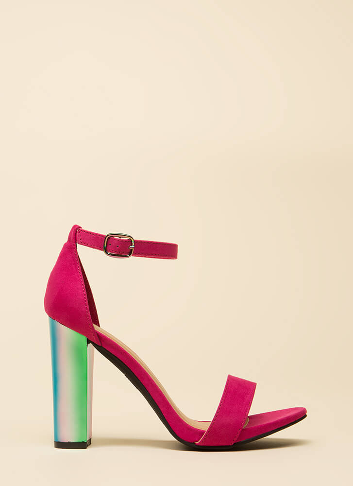 Iridescence Chunky Faux Suede Heels FUCHSIA (Final Sale)