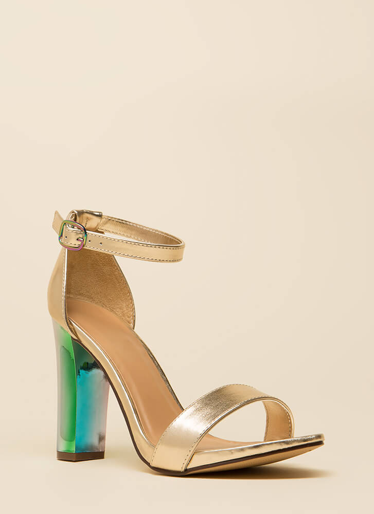 Iridescence Chunky Metallic Heels GOLD