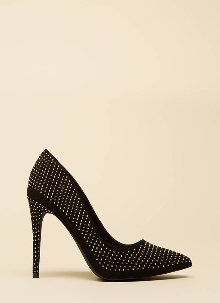 Your Time To Shine Pointy Studded Pumps BLACK (You Saved $18)