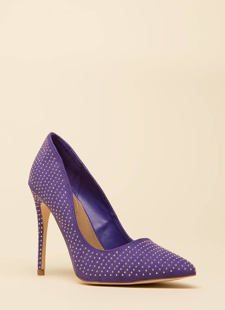 Your Time To Shine Pointy Studded Pumps ULTRAVIOLET
