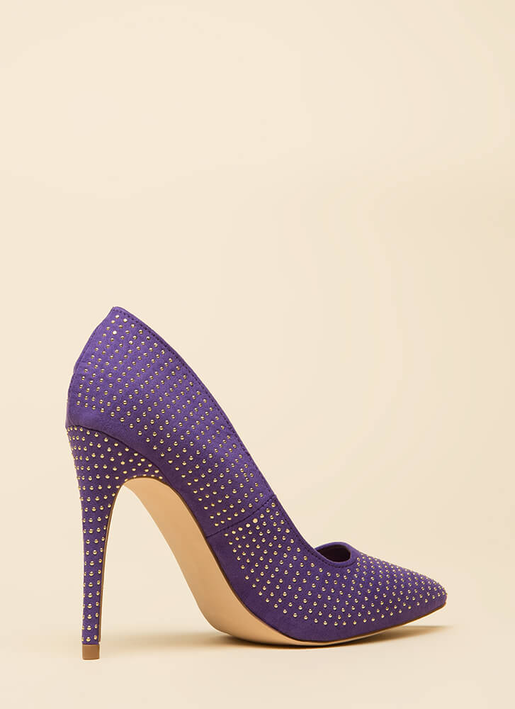 Your Time To Shine Pointy Studded Pumps ULTRAVIOLET (You Saved $18)