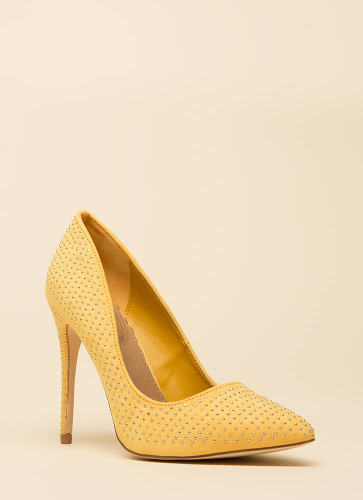 Your Time To Shine Pointy Studded Pumps YELLOW (You Saved $18)