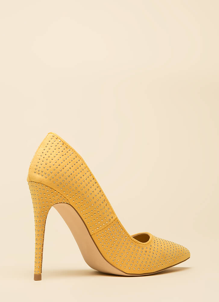 Your Time To Shine Pointy Studded Pumps YELLOW