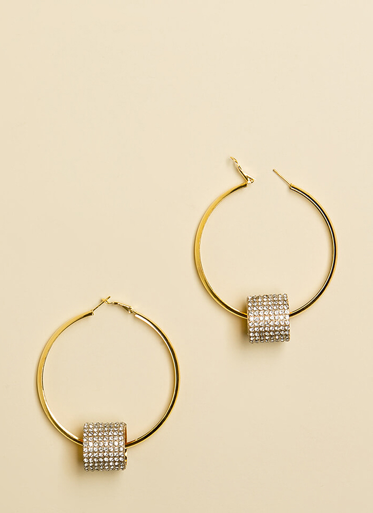 Great And Barrel Jeweled Hoop Earrings GOLD
