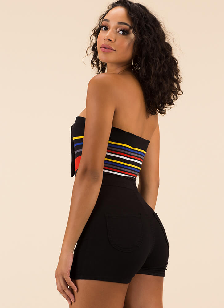 Color Code Strapless Striped Bodysuit BLACKMULTI