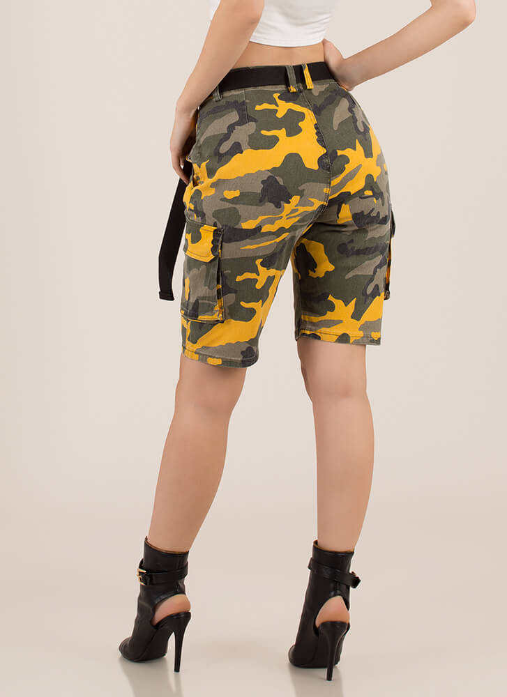 Take Command Belted Camo Cargo Shorts YELLOWCAMO