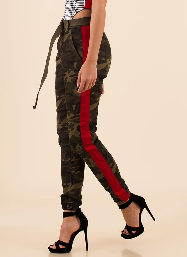 Call Of Camo Striped Belted Joggers CAMORED