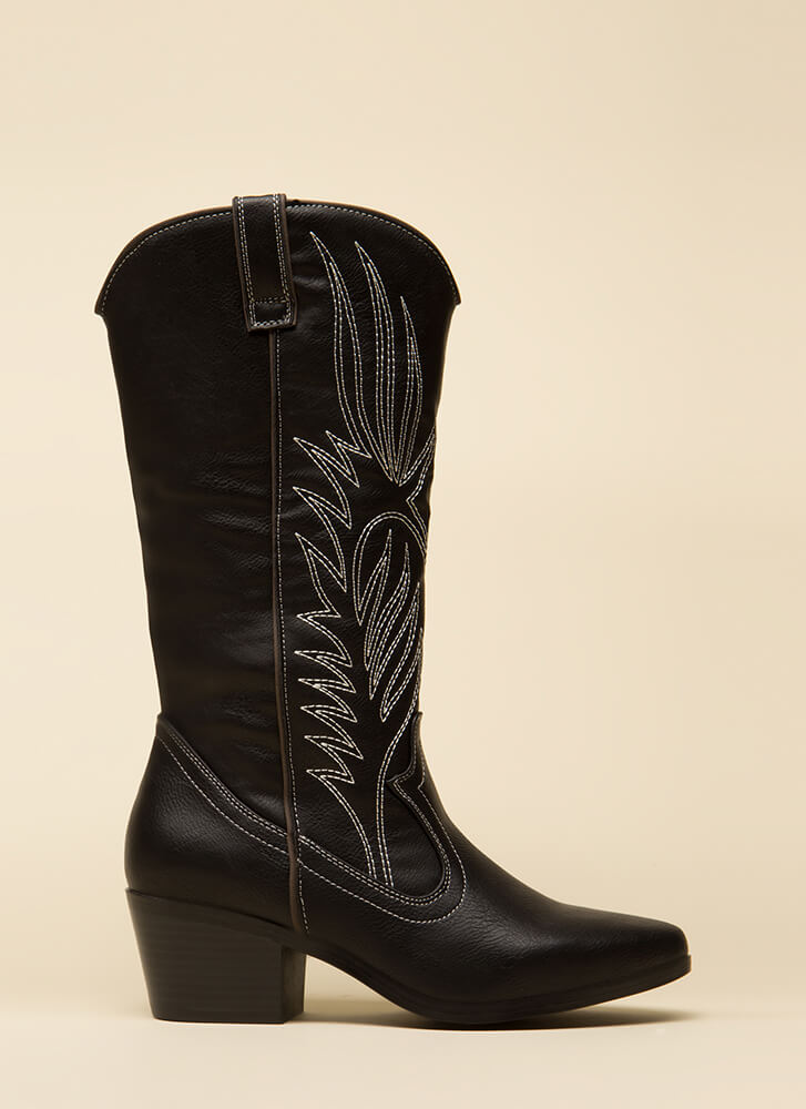 Great Outdoors Embroidered Cowgirl Boots BLACK