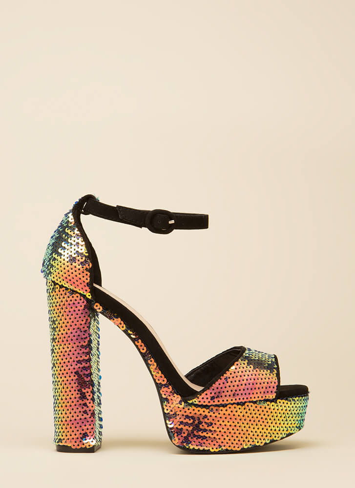 Time To Party Chunky Sequined Platforms BLACKMULTI