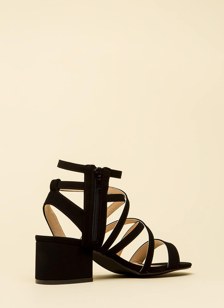 You Make Me So Strappy Caged Heels BLACK
