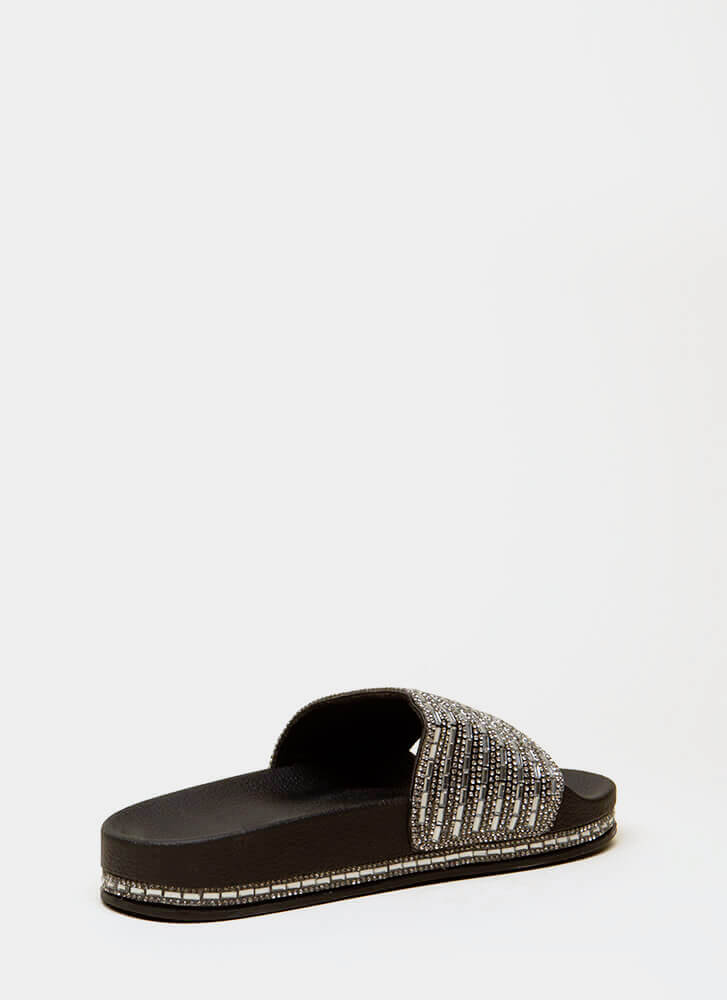 Jewelry Shop Platform Slide Sandals BLACK