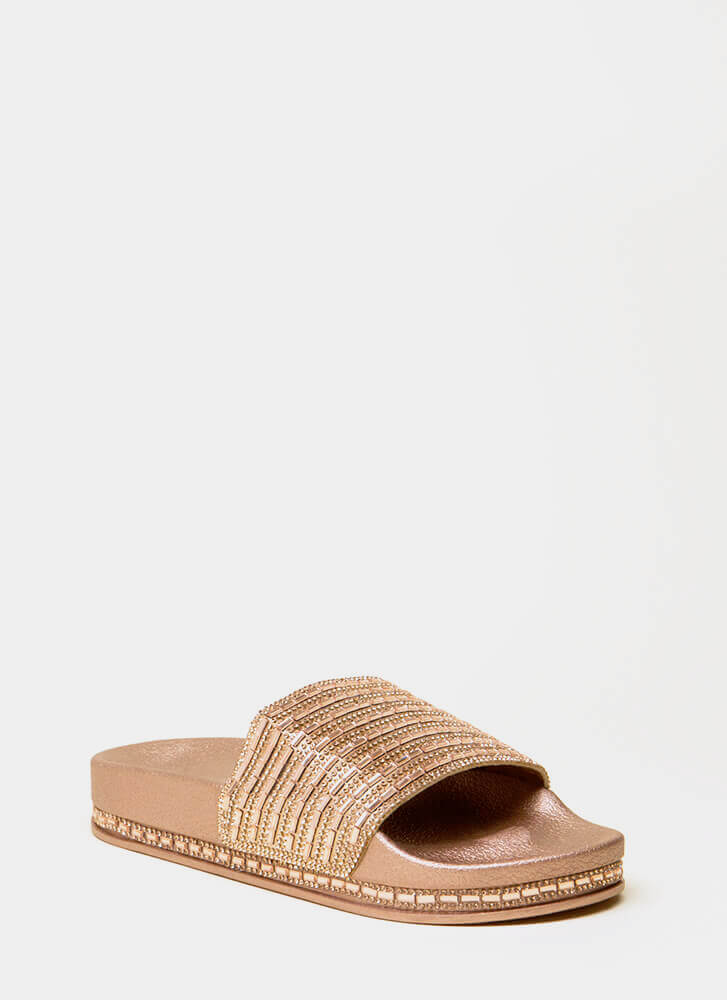 Jewelry Shop Platform Slide Sandals ROSEGOLD