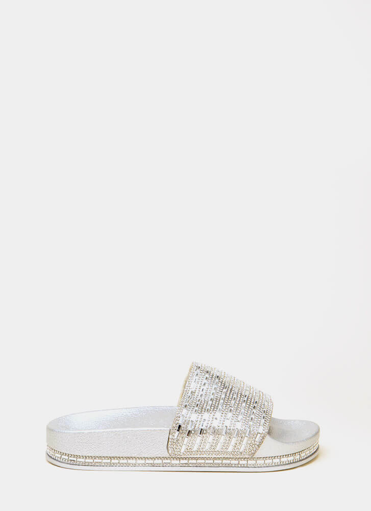 Jewelry Shop Platform Slide Sandals SILVER