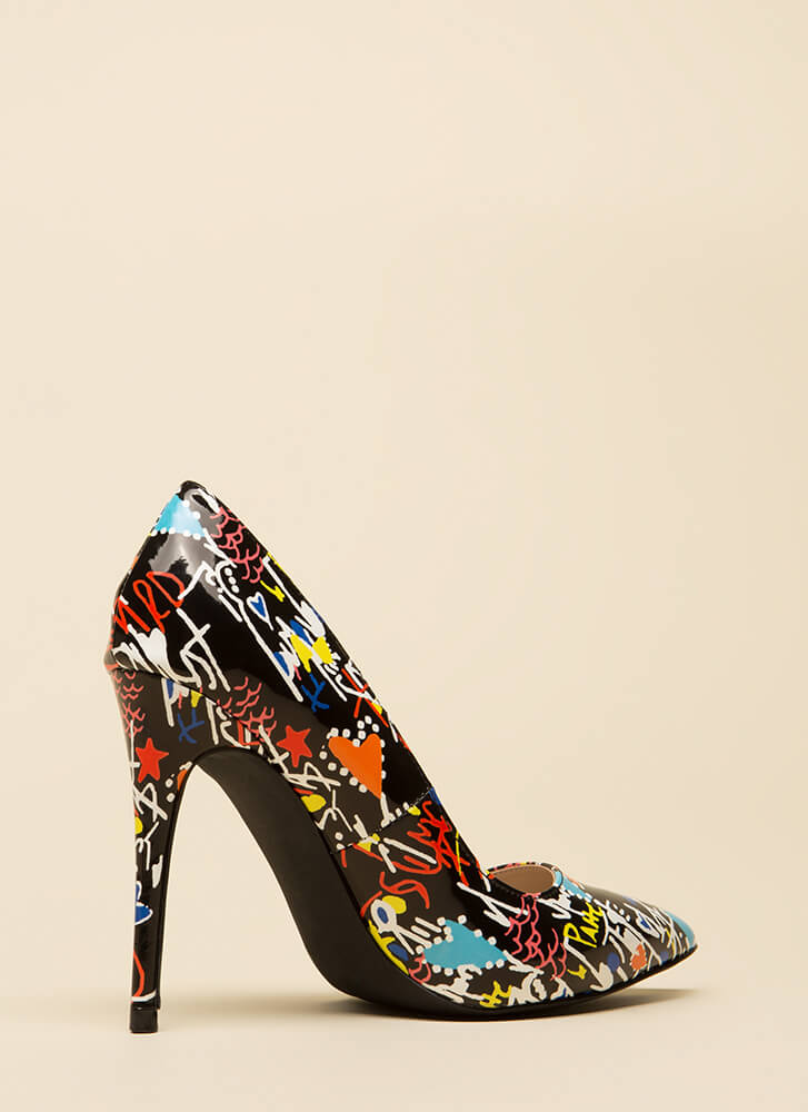 Draw Attention Pointy Faux Patent Pumps BLACKMULTI