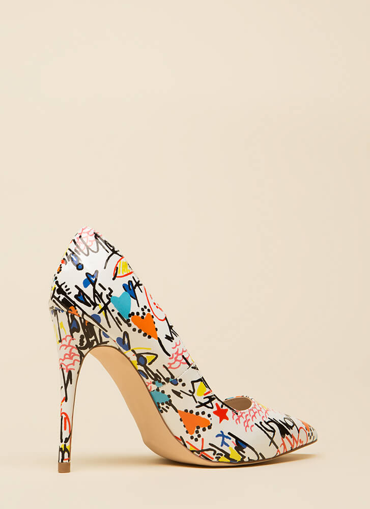 Draw Attention Pointy Faux Patent Pumps WHITEMULTI