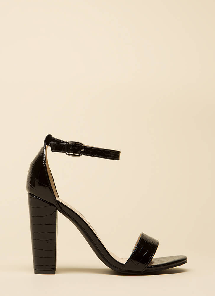 Croc This Way Chunky Scaled Heels BLACK