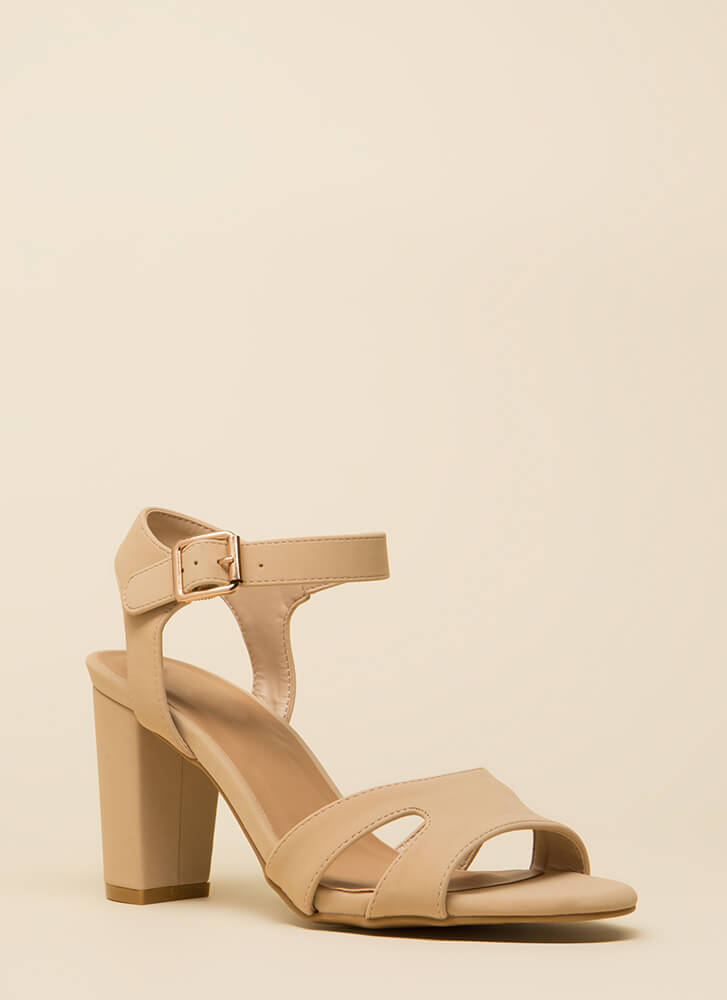 Shoe Collection Chunky Faux Nubuck Heels NUDE