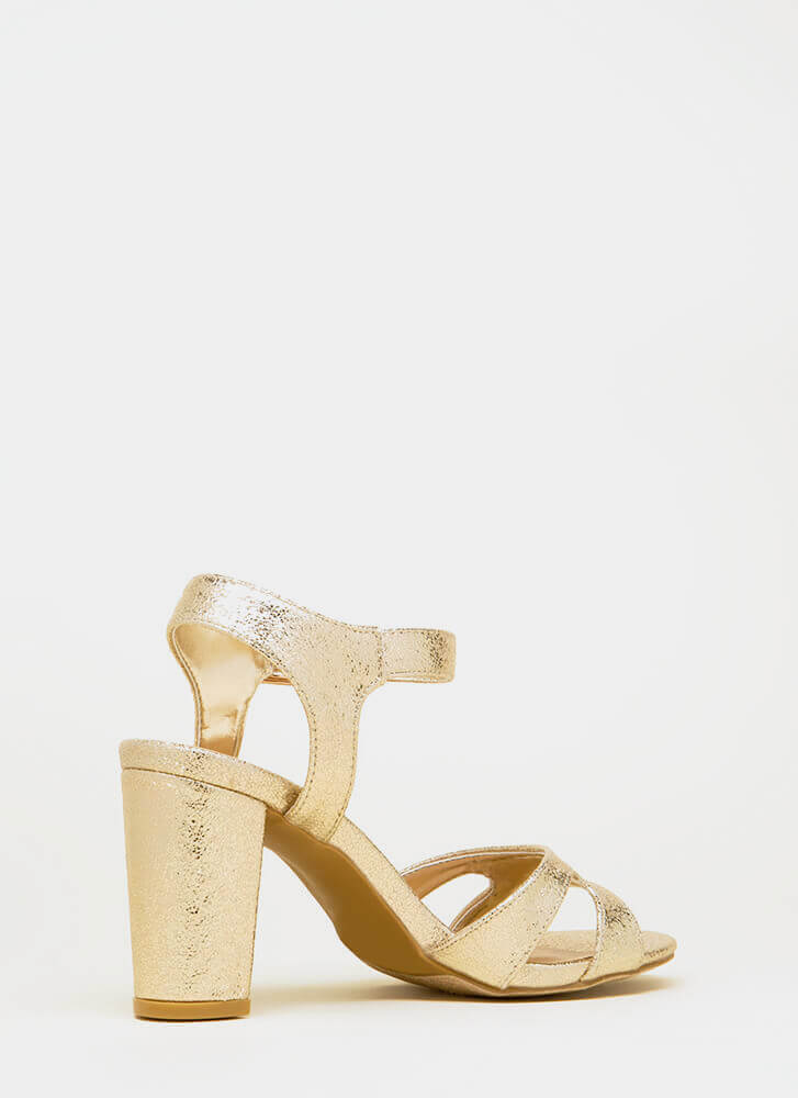 Shoe Collection Chunky Metallic Heels GOLD