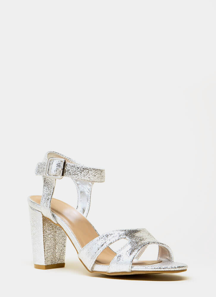 Shoe Collection Chunky Metallic Heels SILVER