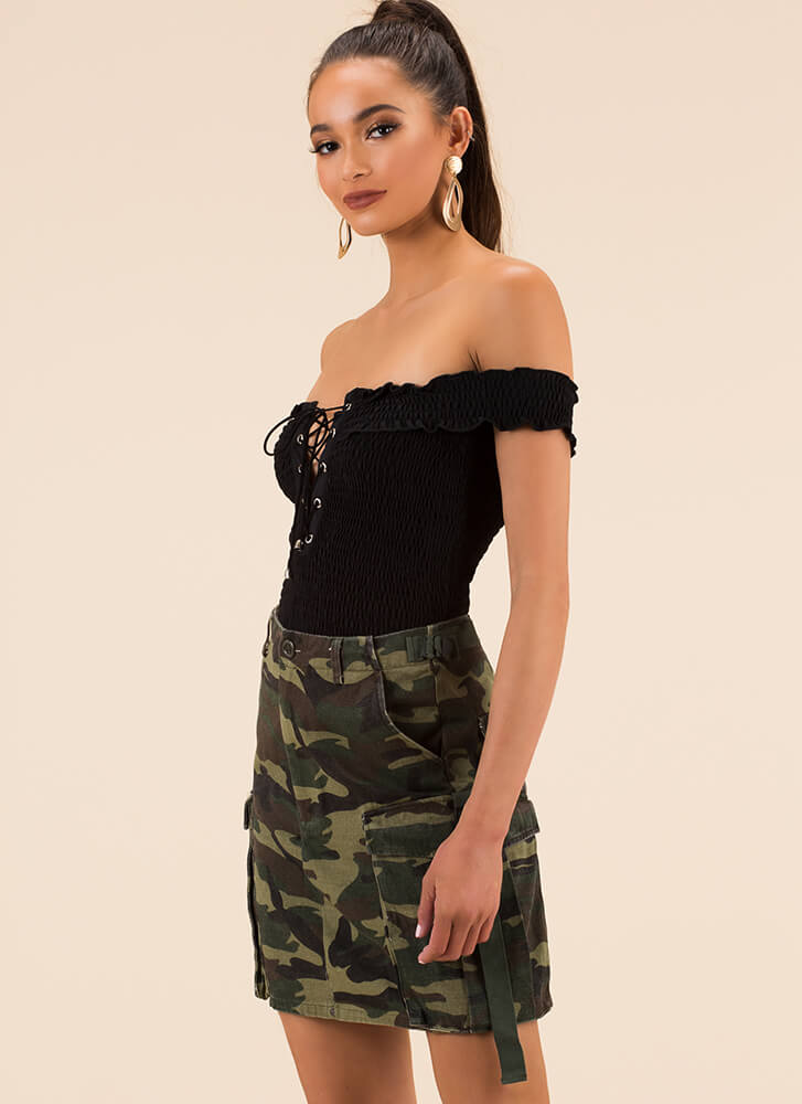 Mission Accomplished Camo Cargo Skirt CAMO