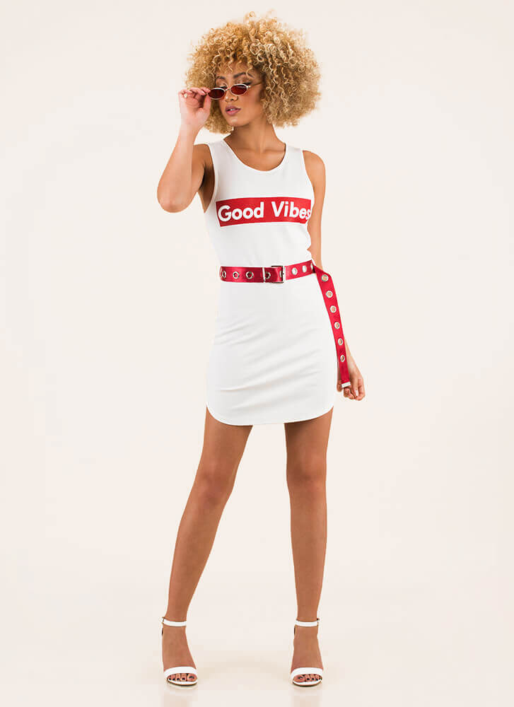 Good Vibes Belted Graphic Minidress WHITE